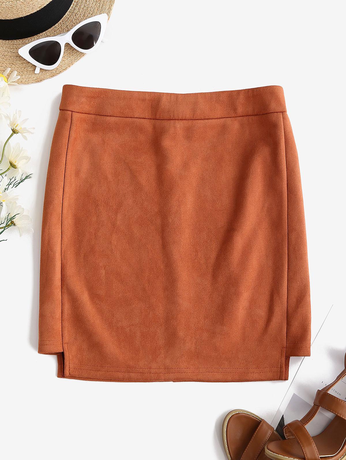 Faux Suede Bodycon Mini Skirt