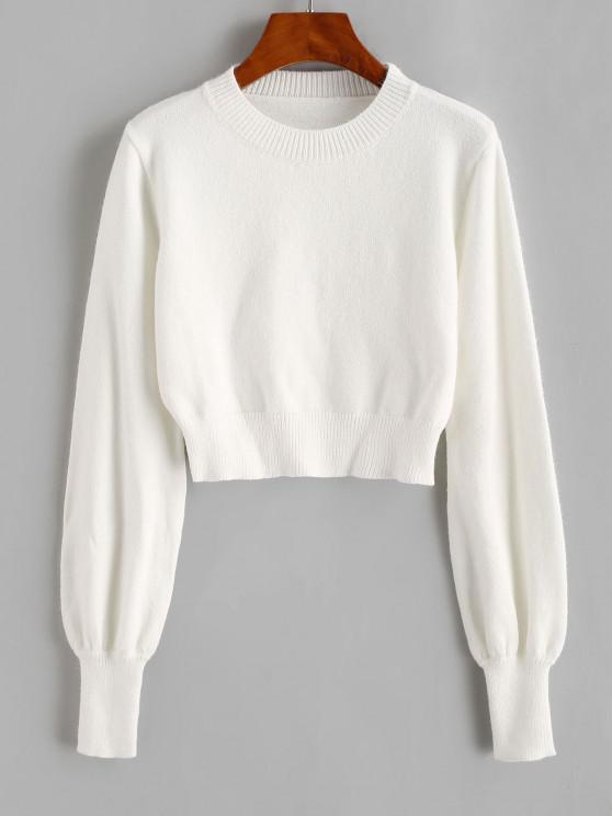 unique Crew Neck Lantern Sleeve Crop Sweater - WHITE S