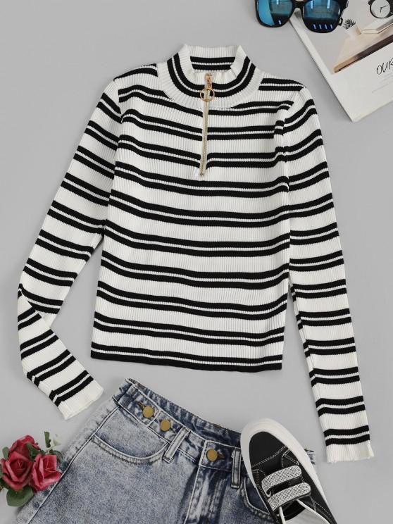 Gestreifter Gerippter Halber Reißverschluss Pullover - Weiß Eine Größe