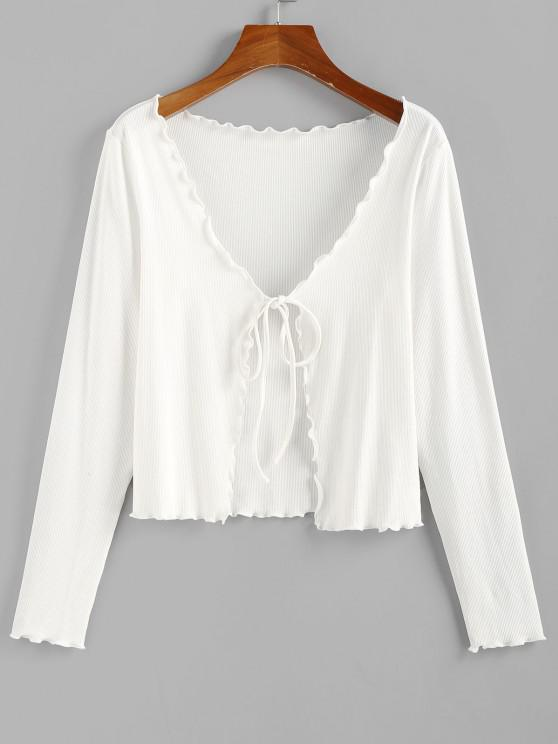 ZAFUL laço com Nervuras Alface Guarnição T-shirt - Branco M
