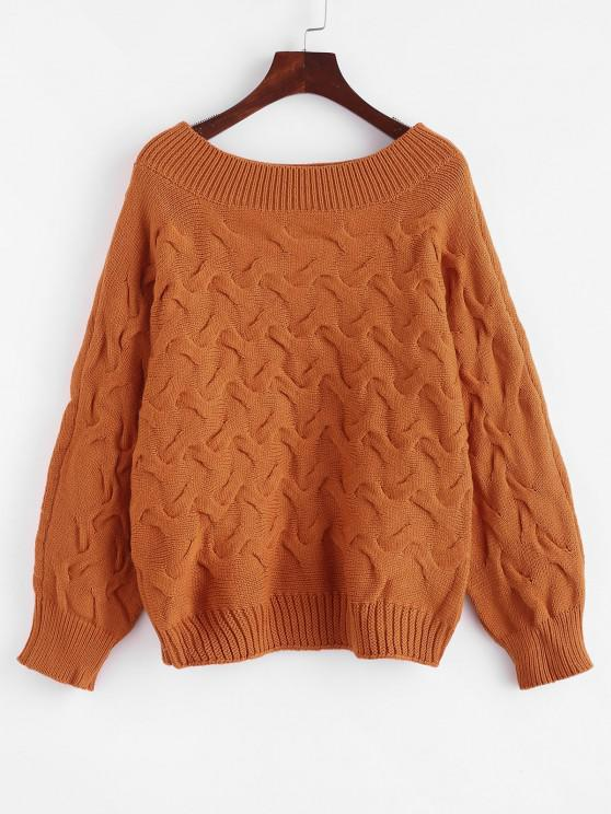 lady Batwing Cable Knit Pullover Sweater - LIGHT BROWN ONE SIZE