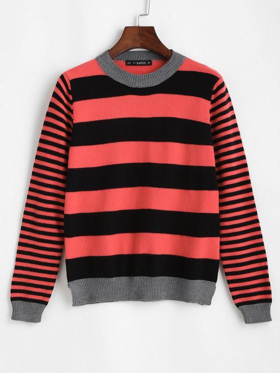 ZAFUL Schlitz Streifen Pullover - Multi Eine Größe