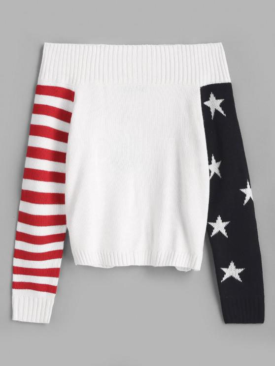 trendy ZAFUL Striped American Flag Off Shoulder Sweater - WHITE ONE SIZE
