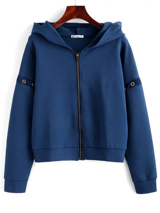 best ZAFUL Eyelet Zipper Drop Shoulder Jacket - CADETBLUE L
