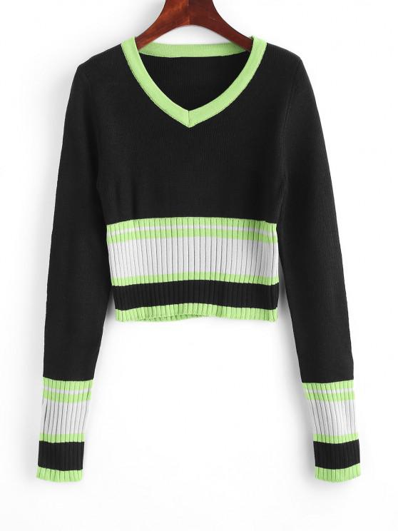 Suéter Fino de Manga de Bloco de Cor - Multi Um Tamanho