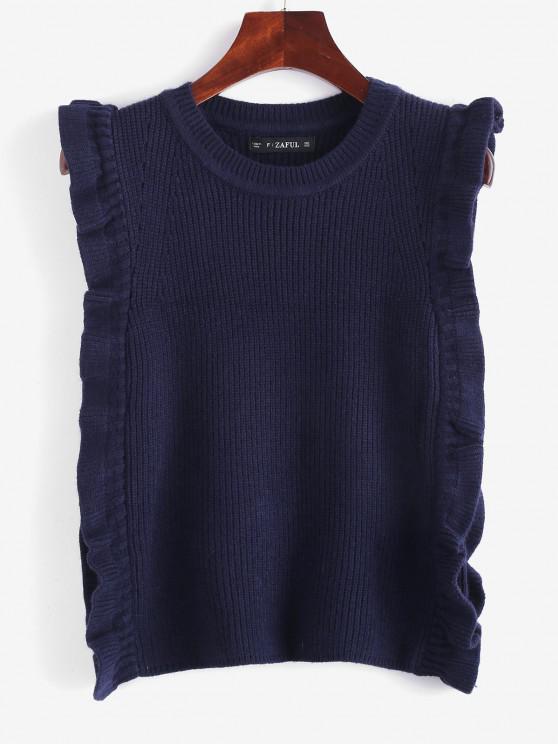 ZAFUL Chaleco Jersey Volantes - Azul de Medianoche Talla única