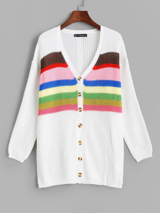 womens ZAFUL Button Up Colorful Stripes Cardigan - WHITE ONE SIZE