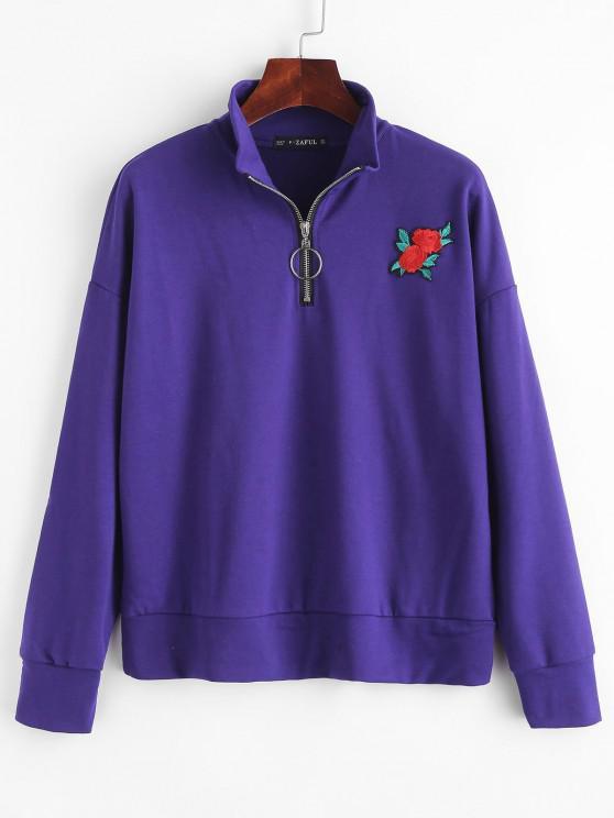 sale ZAFUL Half Zip Floral Embroidered Sweatshirt - PURPLE IRIS ONE SIZE