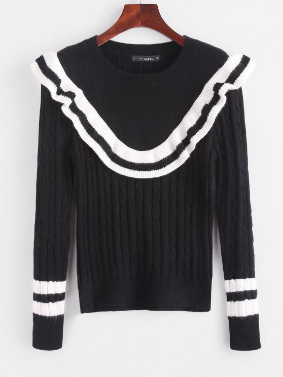 Suéter com Babado em Contraste - Preto Um Tamanho