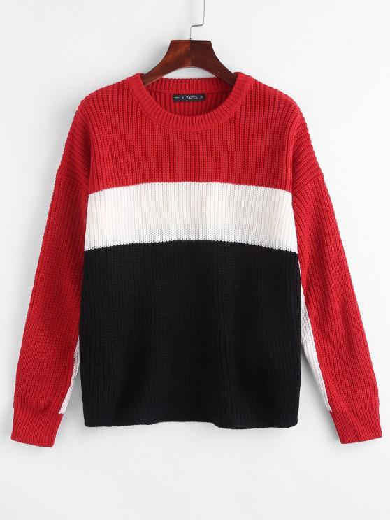 Farbblock Chunky Strick Sweater - Multi Eine Größe