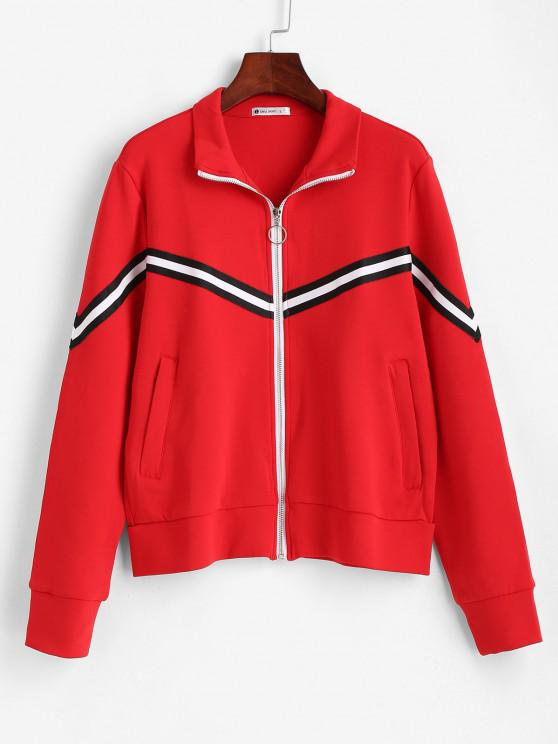 outfit ZAFUL Striped Zipper Pocket Jacket - RED M