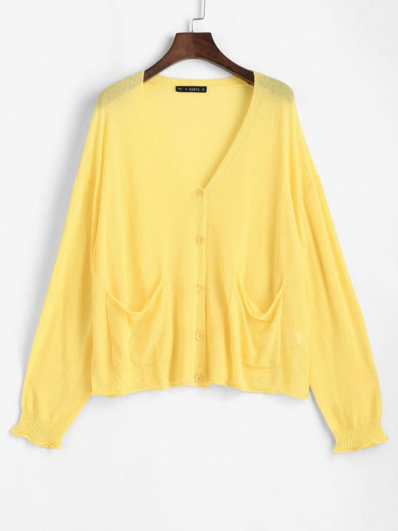 ladies V Neck Button Up Knit Cardigan - RUBBER DUCKY YELLOW ONE SIZE