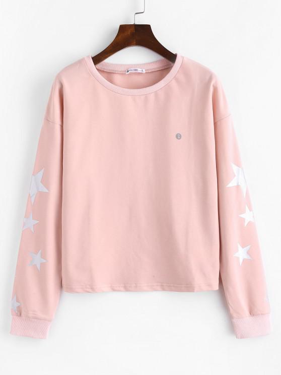 ZAFUL Hängender Schulter Stern Sweatshirt - Hell-Pink M
