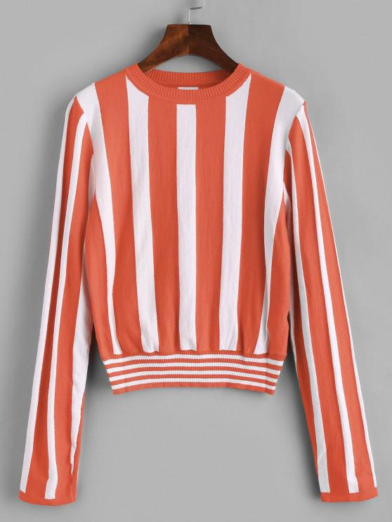 fancy ZAFUL Color Block Stripe Pullover - ORANGE ONE SIZE