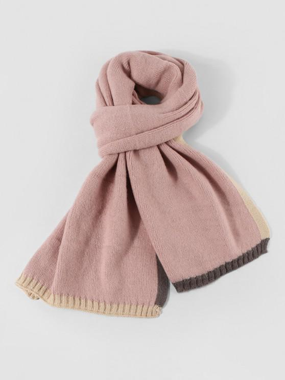 online Winter Colorblock Knitted Scarf - LIGHT PINK