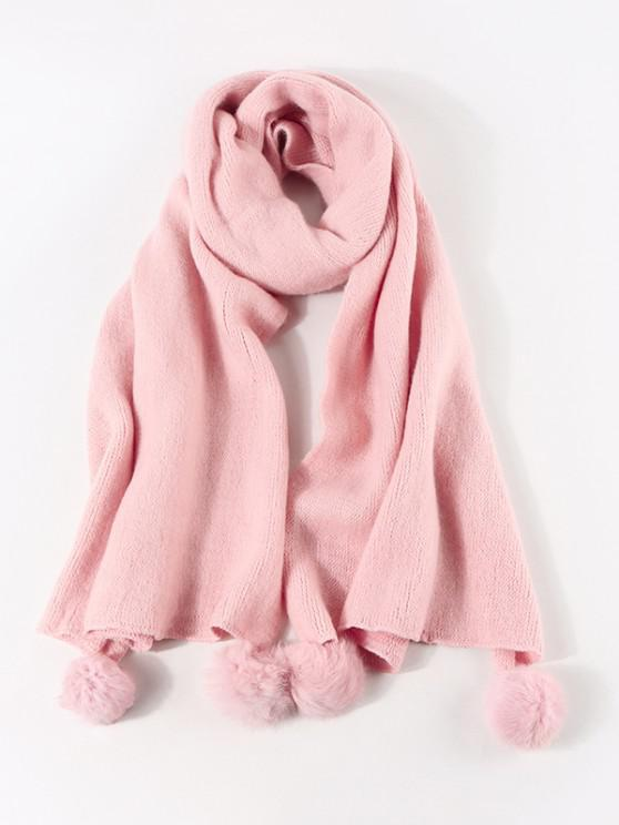 outfit Knitted Faux Cashmere Pom Pom Scarf - LIGHT PINK