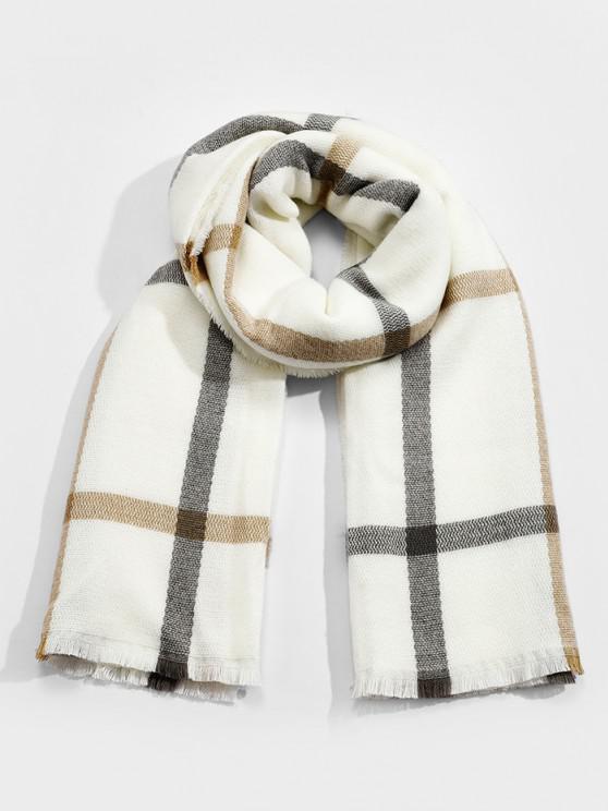trendy Plaid Faux Cashmere Long Scarf - WHITE