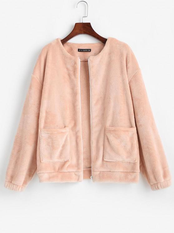 Flauschige Reißverschluss Taschen Jacke - Hell-Pink S