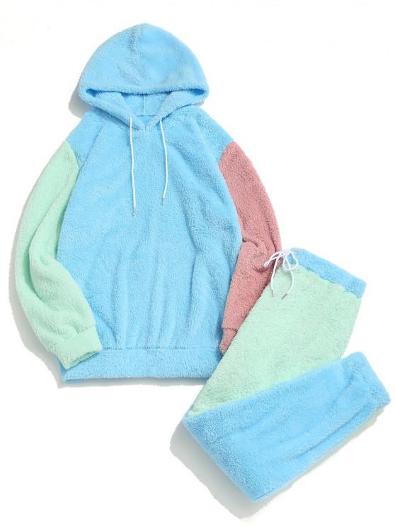 Colorblock Panel Fluffy Hoodie And Pants Two Piece Set - أزرق فاتح M