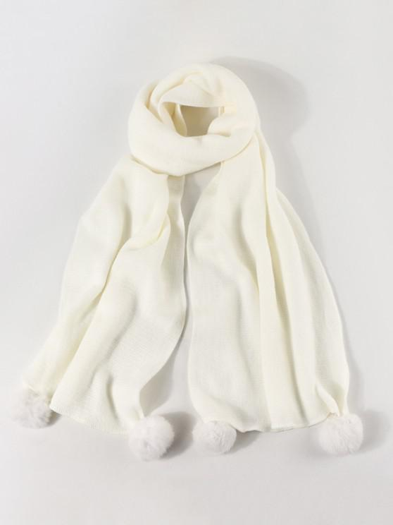 lady Knitted Faux Cashmere Pom Pom Scarf - WHITE