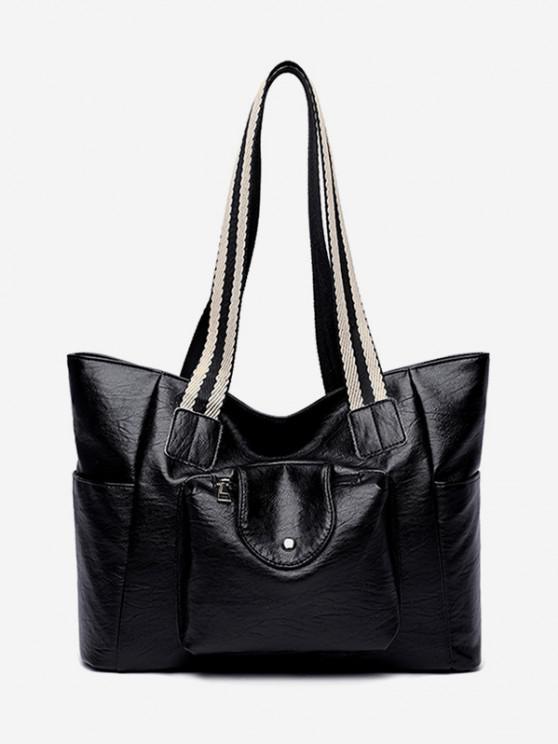 fashion PU Striped Handle Zipper Tote Bag - BLACK