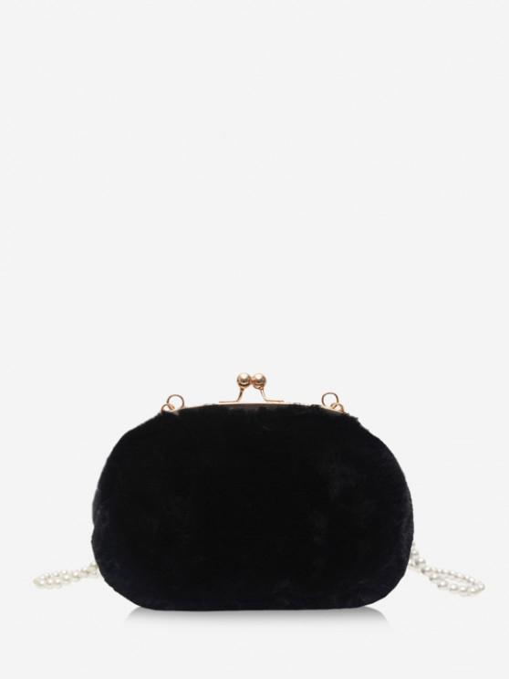 Pearl Fluffy Crossbody Hand Bag - أسود
