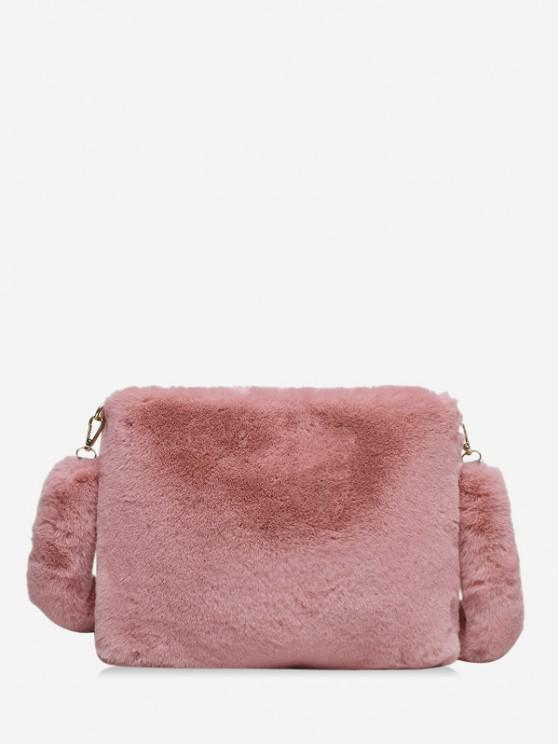 online Faux Fur Rectangle Crossbody Bag - LIGHT PINK