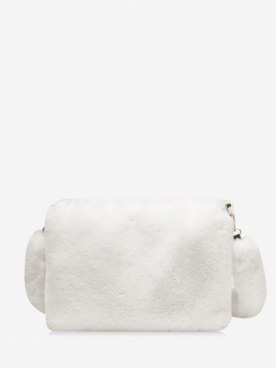 outfit Faux Fur Rectangle Crossbody Bag - WHITE