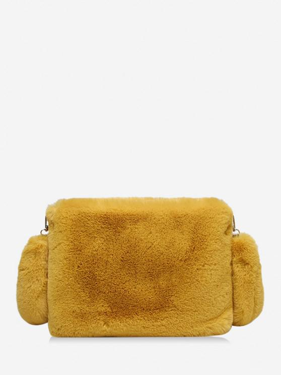 outfits Faux Fur Rectangle Crossbody Bag - YELLOW