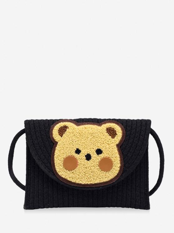 unique Bear Pattern Woven Crossbody Bag - BLACK