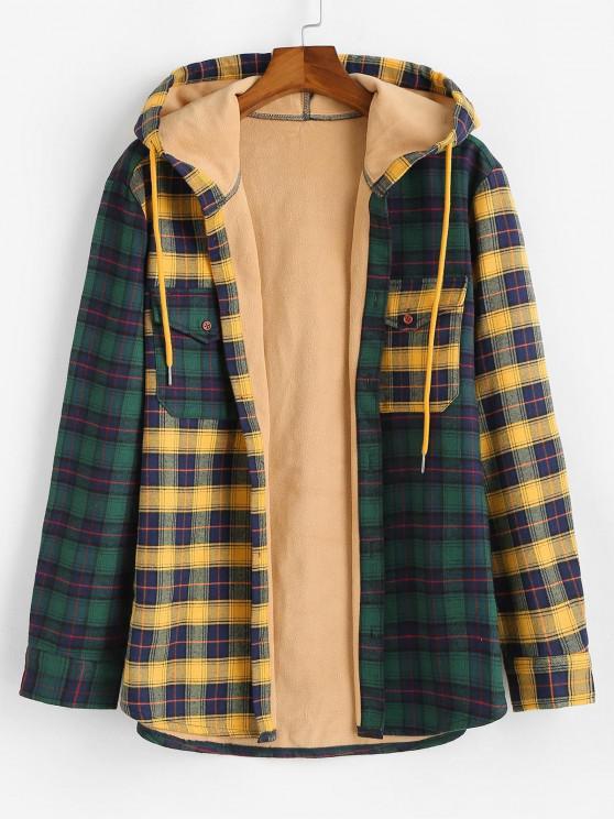 Colorblock Plaid Patchwork Fleece Hooded Shirt Jacket - متعدد M