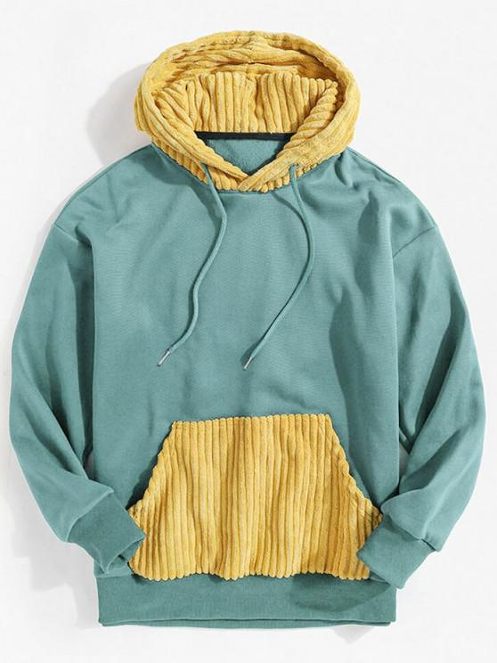 Corduroy Patchwork Colorblock Fleece Hoodie - أزرق فاتح M