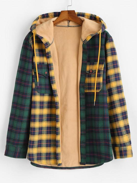 Colorblock Plaid Patchwork Fleece Hooded Shirt Jacket - متعدد XL