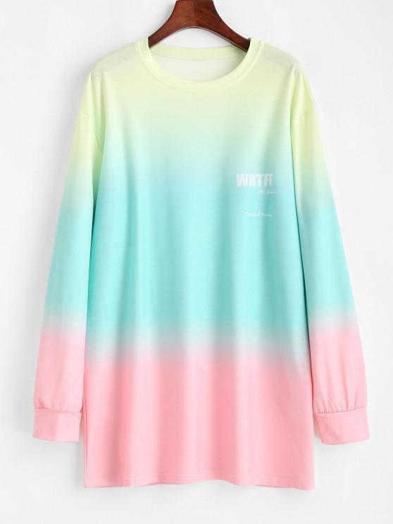 Ombre Dip Dye Oversized Tunic Boyfriend Sweatshirt - متعدد XL