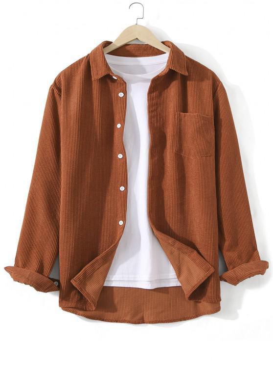 unique Front Pocket Solid Corduroy Shirt - CHOCOLATE 3XL
