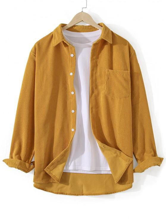 outfits Front Pocket Solid Corduroy Shirt - GOLDEN BROWN 3XL
