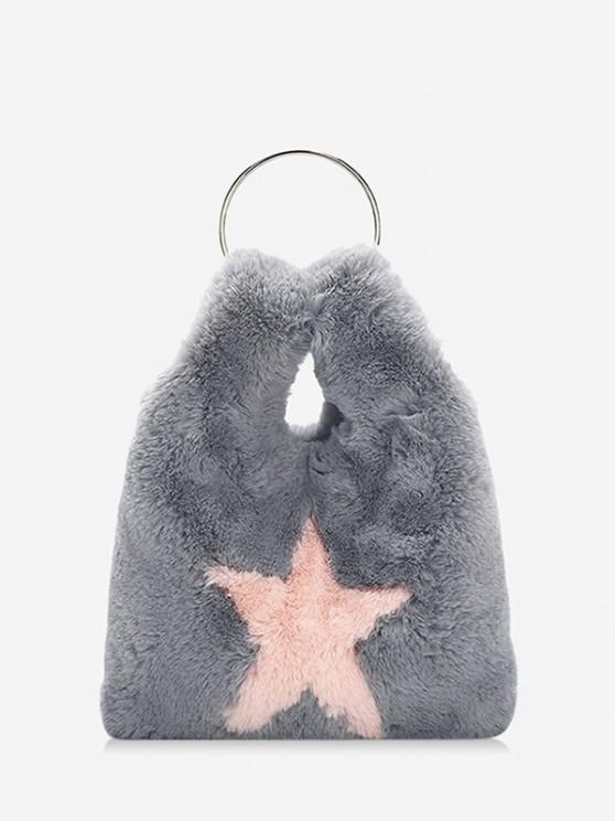 fashion Star Pattern Faux Fur Crossbody Bag - LIGHT GRAY