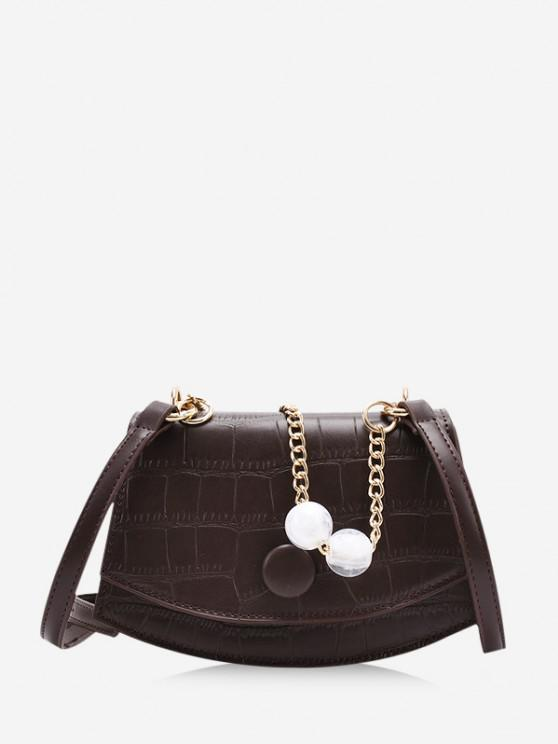 unique Cover Chain Beads Crossbody Bag - COFFEE