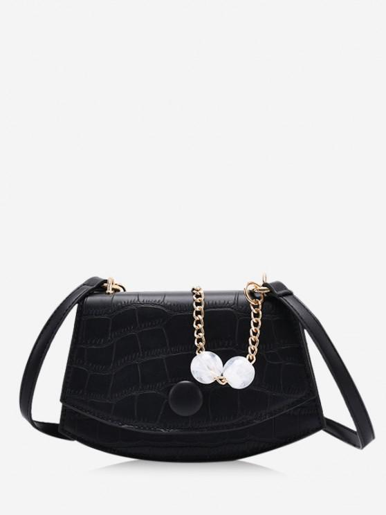 buy Cover Chain Beads Crossbody Bag - BLACK