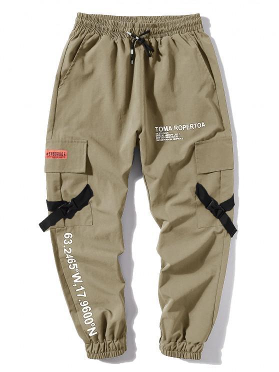 Jogger Pantalones de Estampado de Letras y Bolsillos - Caqui Claro XL