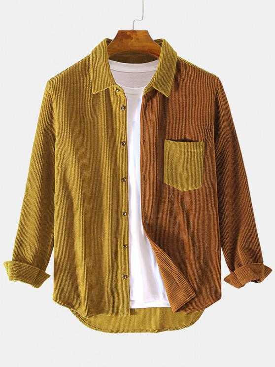 women Two Tone Front Pocket Corduroy Shirt - LIGHT BROWN M