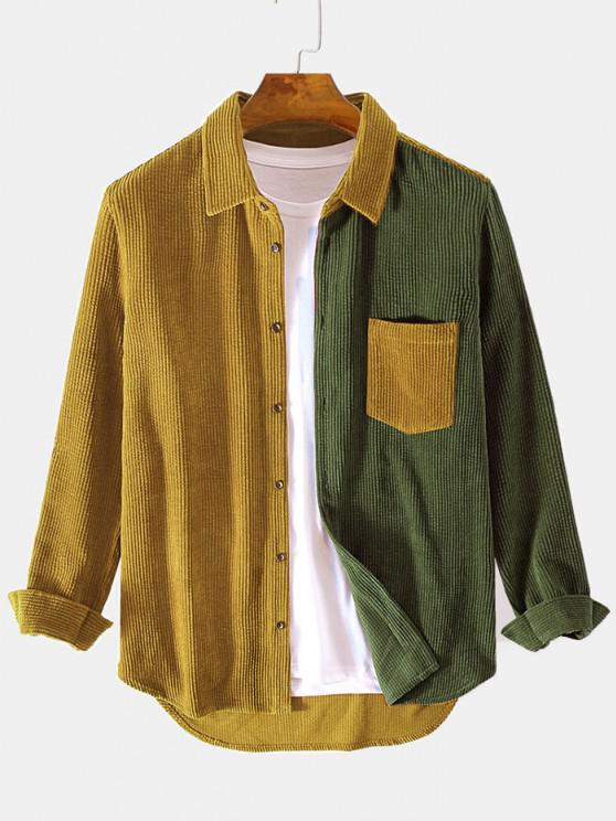 best Two Tone Front Pocket Corduroy Shirt - ARMY GREEN XL