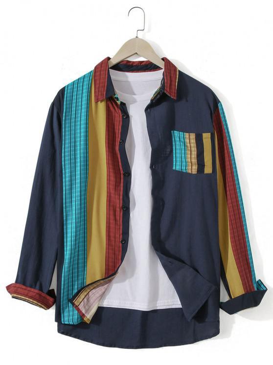 fashion Striped Chest Pocket Long Sleeve Casual Shirt - DARK SLATE BLUE 2XL