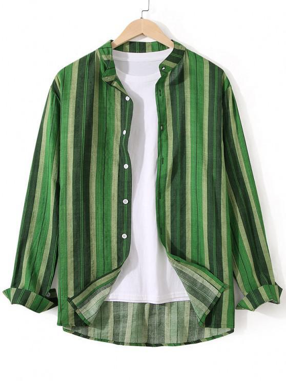 ladies Striped Stand Collar Button Through Shirt - SHAMROCK GREEN XL