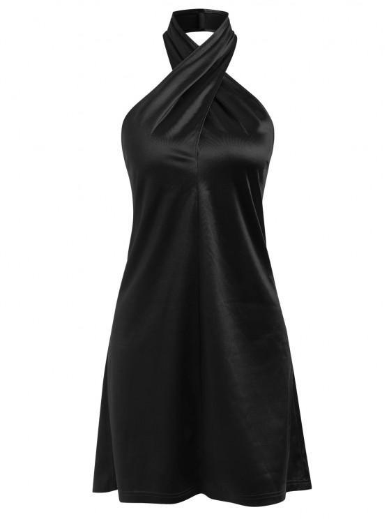 chic ZAFUL Satin Criss Cross Halter Party Dress - BLACK M