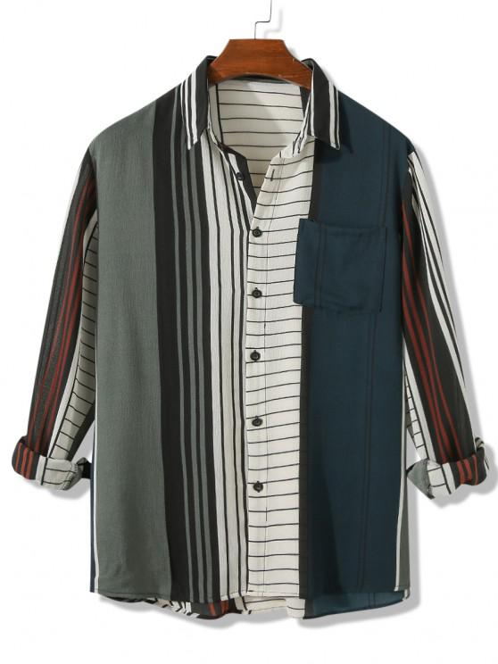Front Pocket Colorblock Stripes Shirt - Dark Forest Green 2XL