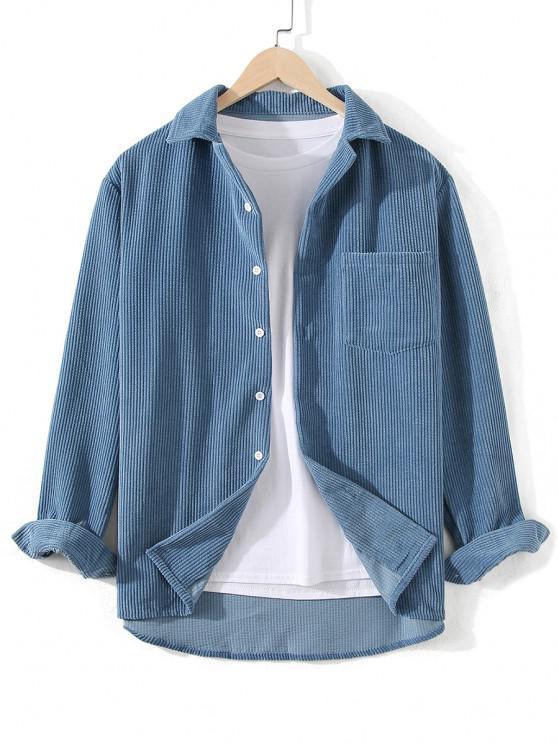 buy Front Pocket Solid Corduroy Shirt - SILK BLUE 3XL