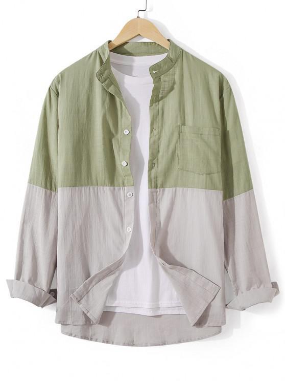 Front Pocket Button Down Two Tone Shirt - الظلام البحر الاخضر 2XL