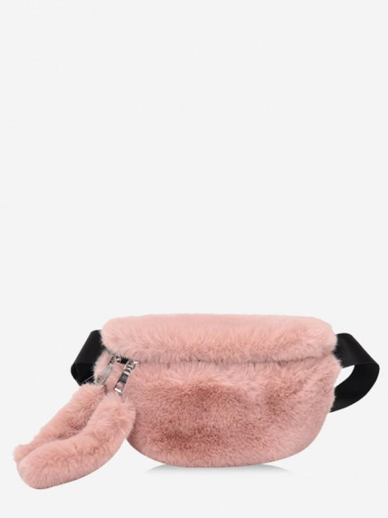 latest Faux Fur Solid Waist Chest Bag - LIGHT PINK