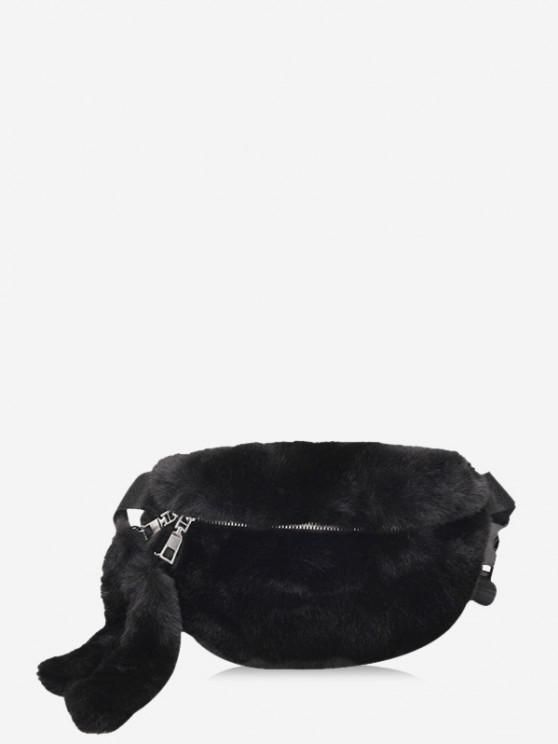 trendy Faux Fur Solid Waist Chest Bag - BLACK